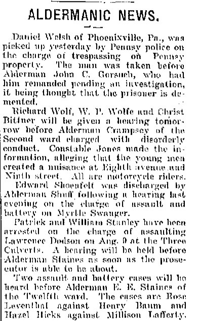 Alderman Hearings Altoona PA August 1918