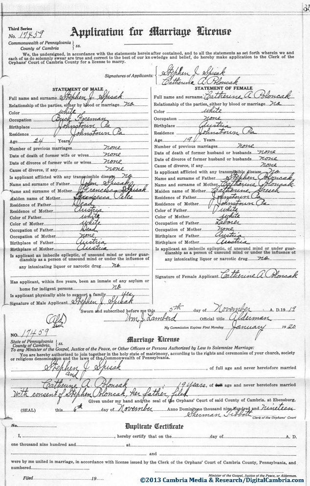 Spisak and Poloncak Marriage License Cambria County, PA