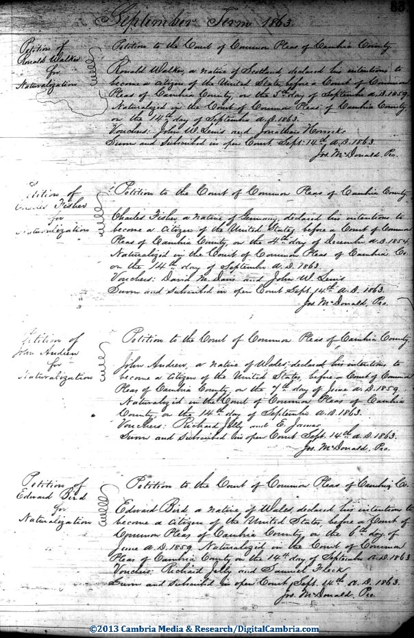 Cambria County PA Naturalization Dockets