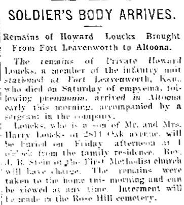 Death of Private Howard Loucks Altoona PA WWI