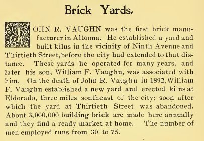 "John Vaughn's Brick Yards from ""Illustrated Altoona"""