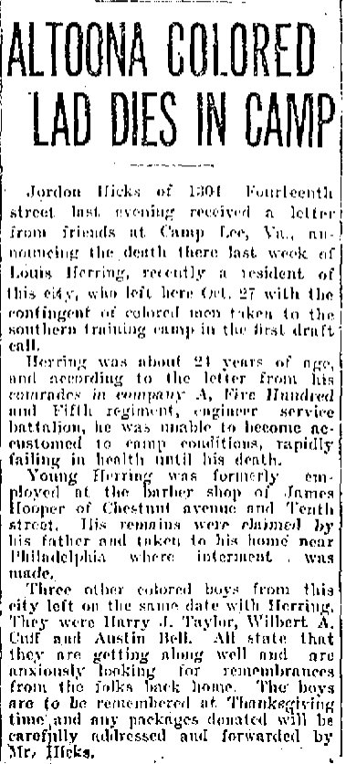 Death of Louis Herring Altoona PA WWI