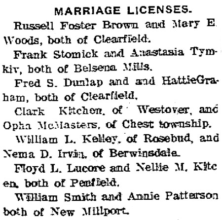 Clearfield County PA Marriage Licenses June 1913