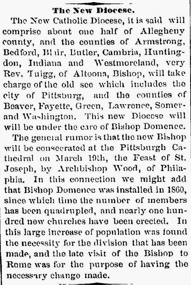 Catholic Diocese Pennsylvania 1876