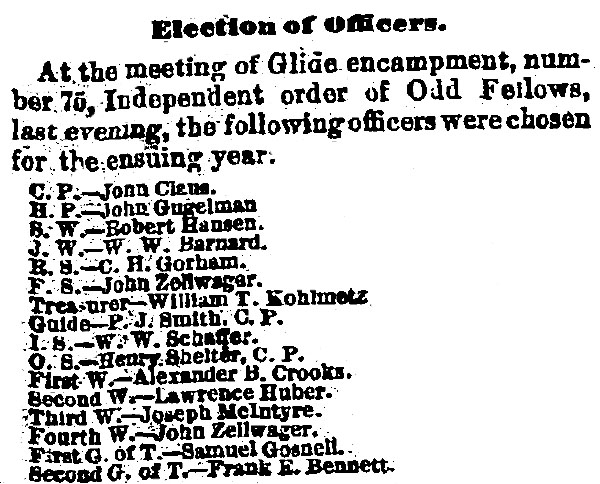 Officers of Odd Fellows Glide Encampment Rochester, NY 1882