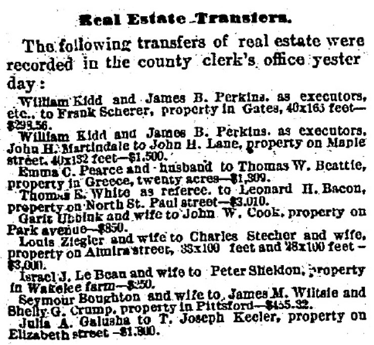 Rochester NY Real Estate sales January 1882