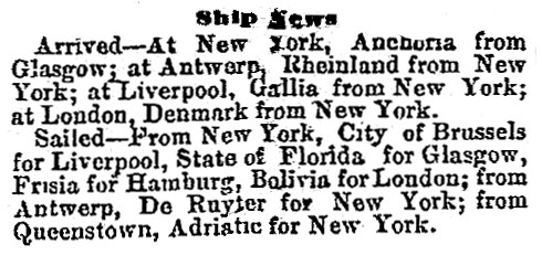 Ship arrivals and departures January 1882
