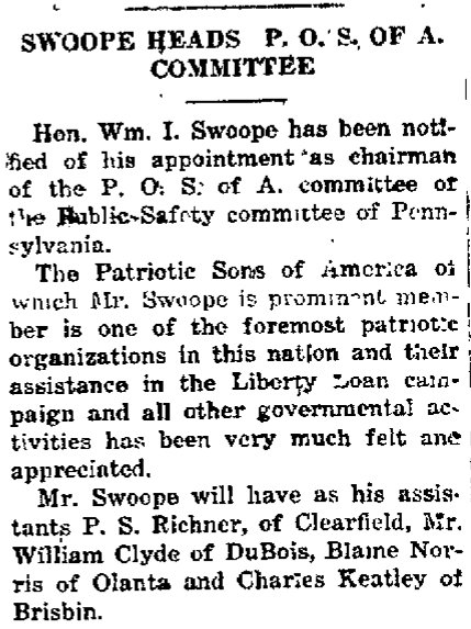 William Swoope heads Patriotic Sons of America WWI Liberty Loan Drive in Clearfiled PA