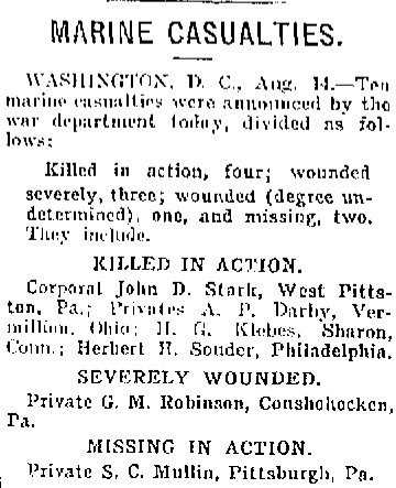 Casualties Reported August 1918 WWI